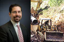 headshot of Greg Kolenovsky next to photo of bulldozer at construction site